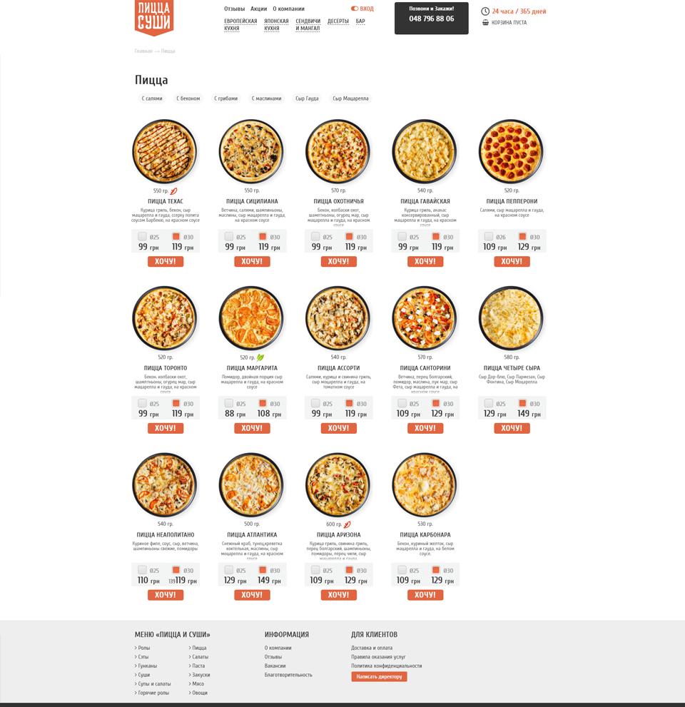 Пицца-суши – портфолио работ веб-студии SeoSpace-2